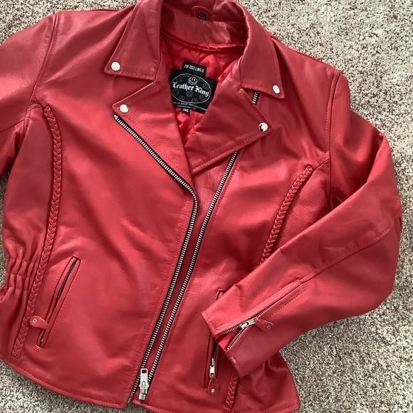 """Leather King """"braided"""" Red Leather Jacket"""